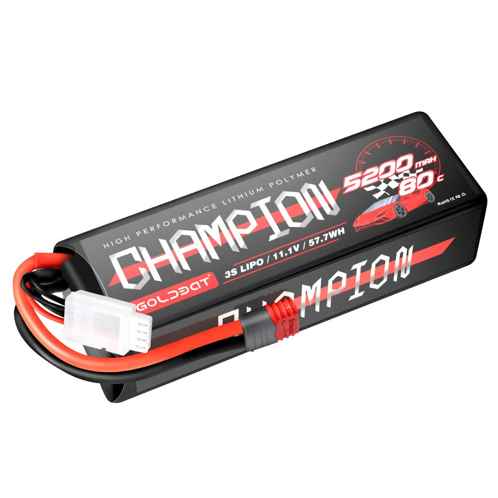 GOLDBAT 2S RC Battery 7.4V 60C 5200mAh LiPo Battery Hardcase Pack with Deans T-Plug for RC Car Evader RC Truggy Buggy RC Helicopter Evader Bx Auto LKW Truck RC Hobby 2Packs