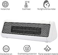 GHWWW Calentador Eléctrico Portátil Mini con Protección contra Sobrecalentamiento Calentador de Aire PTC Calefacción de Cerámica Estufa Radiador para Escritorio Oficina en Casa Blanco,Blanco