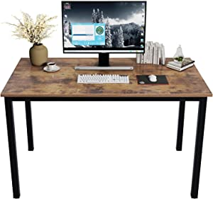 DlandHome 47 inch Computer Desk Home Office Table Writing Desk Study Table Gaming Desk Workstation (47 inch, Rustic Brown)