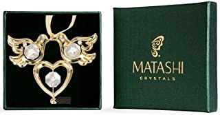 24K Gold Plated Love Birds Ornament Made with Genuine Matashi Crystals