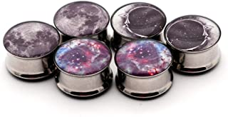 Set of 3 pairs Double Flare Picture Plugs - Set #1 - (Full Moon, Moon Style 2, Galaxy) - All 3 pairs included