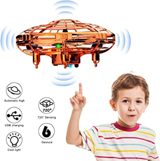 WEW Flying Toy Drones for Kids Gifts, Hand Operated Mini Drone Helicopter, Upgrade 6 Magical Sensors Levitation UFO Drone Gift Kids Toys for Boys and Girls - Gold
