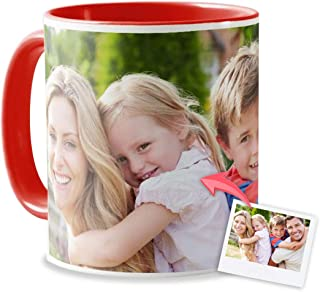 Tazas Personalizadas con el Interior y asa de Color   Diséñalas con Fotos y Texto   Tazas Color: Rojo