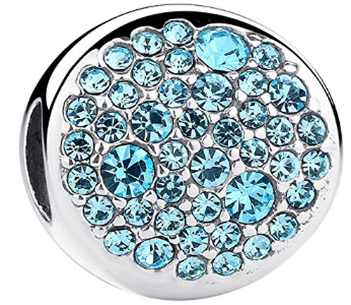 SaySure - 925 Sterling Soild Silver Round Charm Beads With Blue CZ