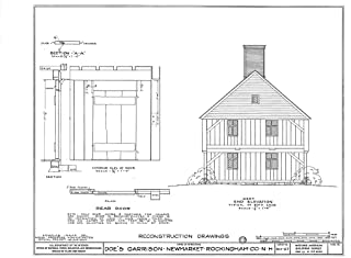 Historic Pictoric Structural Drawing HABS NH,8-NEWM,1- (Sheet 18 of 23) - Doe Garrison, Lamprey River & Great Bay, Newmarket, Rockingham County, NH 55in x 44in