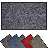 Muvden Heavy Duty Non Slip Dirt Trapper Door Mat - Indoor & Outdoor Floor Rubber Mats - Barrier Washable Door Mat - Absorbent Front Door Mat, Pet Friendly Dirt-Trapper Flat Doormat Grey 40 x 60
