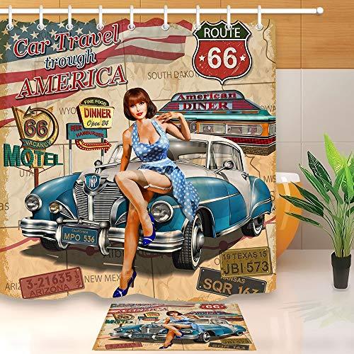 YLBH Wasserdichter Duschvorhang Auto Reise Durch Amerika Route 66, Historischer Retro Trip Sexy Girl Mehltau Proof Vorhang 200X 240 cm