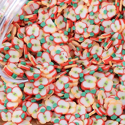 100 g Frucht-Lollipop Eis Blume Schleim Charms Harz Flatback Polymer Ton Streusel Dekoration Filler DIY Schlamm Partikel Scrapbook Handy Tasche Nailart Miniatur Fairy Garden DIY apple6