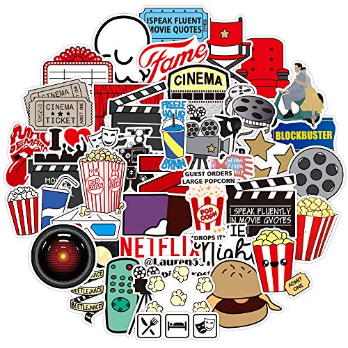 Movie Night Party Stickers 50pcs, Cinema Theater Decoration Stickers for Laptop Water Bottle Phone Notebook Luggage Bike Car Skateboard Guitar