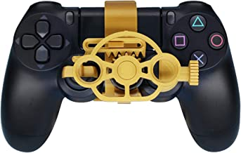PS4 Gaming Racing Wheel (Enhanced), 3D Printed Mini Steering Wheel add on for The Playstation 4 Controller (Metal Gold)
