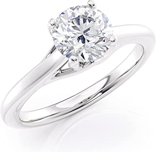 IGI Certified 1 Carat Diamond Solitaire Engagement Ring for Women in 14k White Gold (H-I, I2, cttw) 4-Prong Set Size 6 to ...