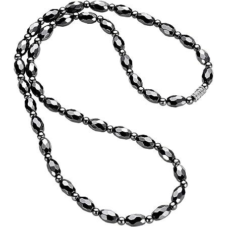WOOSA ヘマタイト テラヘルツ 磁気 メンズ レディース ネックレス 磁気純度99.999%鑑定済み 静電 気除去 アクセサリー プレゼント ギフトボックス付き ブラック
