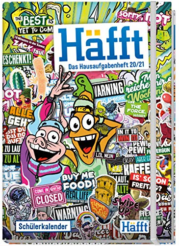 Häfft Hausaufgabenheft Deluxe A5 2020/2021 [Stickermania] Hardcover Schülerkalender, Schülerplaner mit Gummiband | nachhaltig & klimaneutral