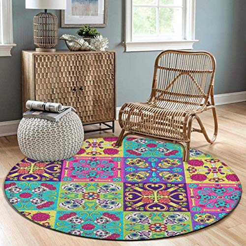 NiYoung Modern Decor Round Mat Rug Non-Slip Floor Carpet Area Carpet, Flowers Sugar Skull Colorful Talavera Mexican Tiles Extra Soft and Comfy Floor Carpets Mat for Bedroom Living Room