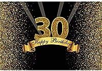 新しい2.1x1.5mポリエステルの背景30歳の誕生日の背景キラキラスパンコール光線キッズパーティーのための写真撮影のための金黒の背景