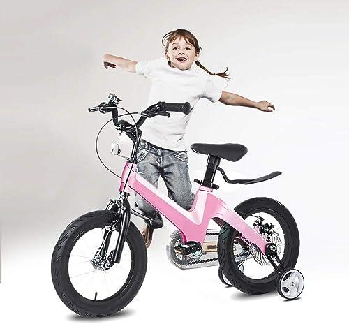 las mejores marcas venden barato Q&J Bicicleta de niñas para Niños Niños Niños de aleación de magnesio Ajustable en Altura, sillín y Manillar Regulables en Altura, Caja de Cadena Cerrada, 2 Frenos, Pedal Antideslizante, Ruedas de Apoyo  están haciendo actividades de descuento