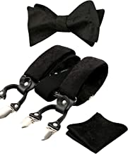 Alizeal Mens Self-tied Paisley Bow Tie, Pocket Square and Clips Suspenders Set