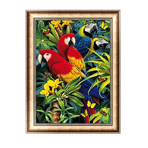 Loegrie - Kit perroquets et fleurs - Tableau de diamants 5D - Loisirs créatifs - Décoration murale
