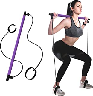 BZ Portable Pilates Stick Muscle Toning Bar Home Gym Pilates with Foot Loop for Yoga, Stretch, Sculpt, Twisting, Sit-Up (P...