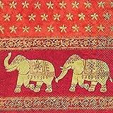 Confezione Da 20 Tovaglioli Da Pranzo 3 Veli qualità superiore - Motivo Elefanti Indiani (33 x 33 cm)