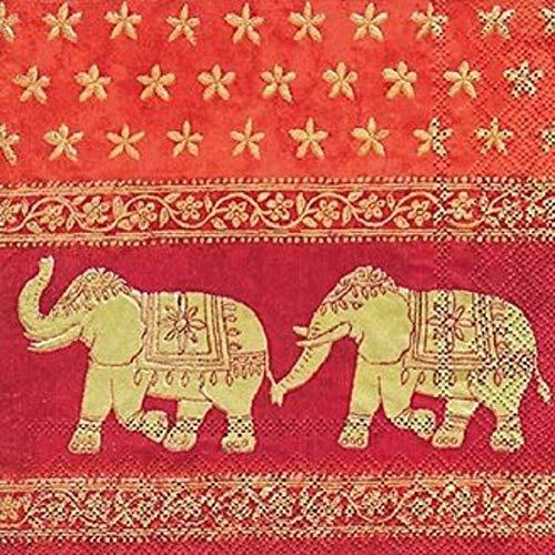 Ihr Servietten 20Stück/Servietten–Indischen Elefanten–33cm x 33cm–3-lagig