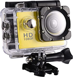 Vbestlife Mini Videocámara Deportiva a Prueba de Agua 1080P Ultra HD 32GB Action Camera al Aire Libre Baterías Recargables con Soporte para Buceo Nadar Ciclismo etc(Amarillo)