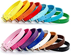 Junorstar 16 Colors PU Leather Solid Soft Pet Dog Collar for Small Medium Large Dogs Neck Strap Safe Fashion Puppy Kitten Cats Collar,Brown Black Pink Red Blue Pet Basic Collar (S,M,L,XL)