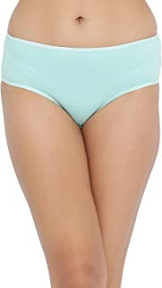 Clovia Women's Mid Waist Hipster Panty with Printed Back in Light Green - Cotton