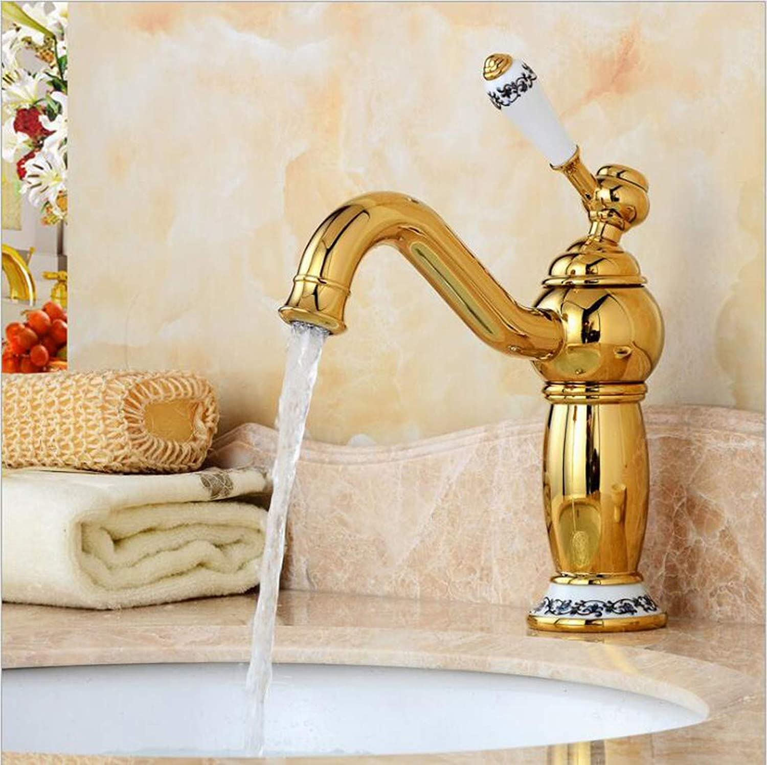 KAIDEFI European-Style gold-Plated Single-Orifice Basin Faucet Hot And Cold Mixing Faucet Creative bluee And White Porcelain Faucet gold Bath Sink Faucet