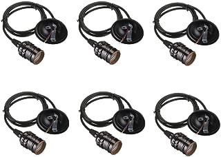 vTopTek Pendant Light Kit,Vintage Edison Socket Screw Bulbs Light Lamp Holder, E26/E27 Base Adjustable Wire for Kitchens, Dining Rooms, Bars and Restaurants Pack of 6 (Black)