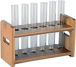 """لوله لیمویی بامبو تست لوله عینک آفتابگردان، بزرگ به عنوان قلم پایه، ساخته شده از بامبو با ساخته شده در دستگیره، تنها قفسه، لوله های شیشه ای شامل نمی شود، ظرفیت 6 لوله (7/8 """"(22mm) سوراخ)"""
