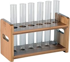 Lily's Home Bamboo Test Tube Vial Shot Glasses Holder Rack, Great as Pen Stand, Made from Bamboo with Built-in Handle, Rack Only, Glass Tubes NOT Included, 6 Tube Capacity (7/8