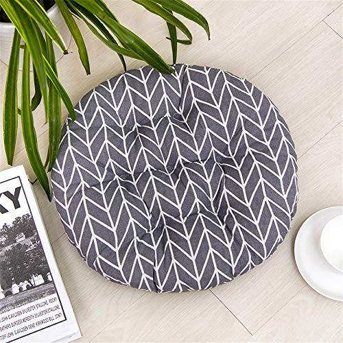 Glitzfas, set di 2 cuscini per sedie, rotondi, in cotone e lino, per interni ed esterni, motivo: righe ondulate, diametro 40 cm