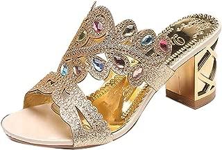 jingxlkd - Zapatillas de tacón para Mujer con Diamantes de imitación