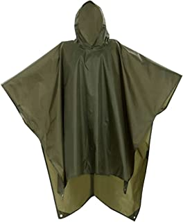 Militar Impermeable Ejército Encapuchado Capa de Lluvia Poncho Verde para Cámping Excursionismo Deportes al Aire Libre