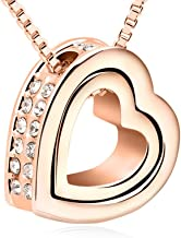 Xingzou Double Love Heart Shape Pendant Necklace,Crystal from Swarovski Jewelry
