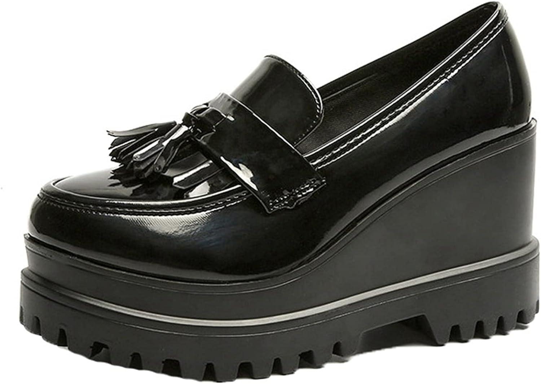 TYWFCOL Women's Platform Popular Loafers Patent Leather Tassel L Slip-On Under blast sales