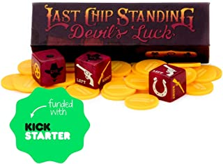 Last Chip Standing: Devil's Luck | Fast, Light & Fun Pocket Classic Family Dice Game | Includes 19mm Custom Dice, 24 Yellow Mini Chips, and Magnetic Carry Case | Travel-Friendly Tabletop Board Game