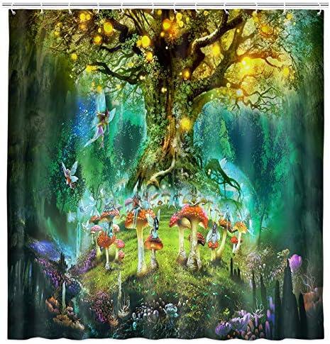 Fantasy Forest Shower Curtain Fairy Tale Jungle Tree of Life Kids Bathroom Decor Magical Mushroom product image