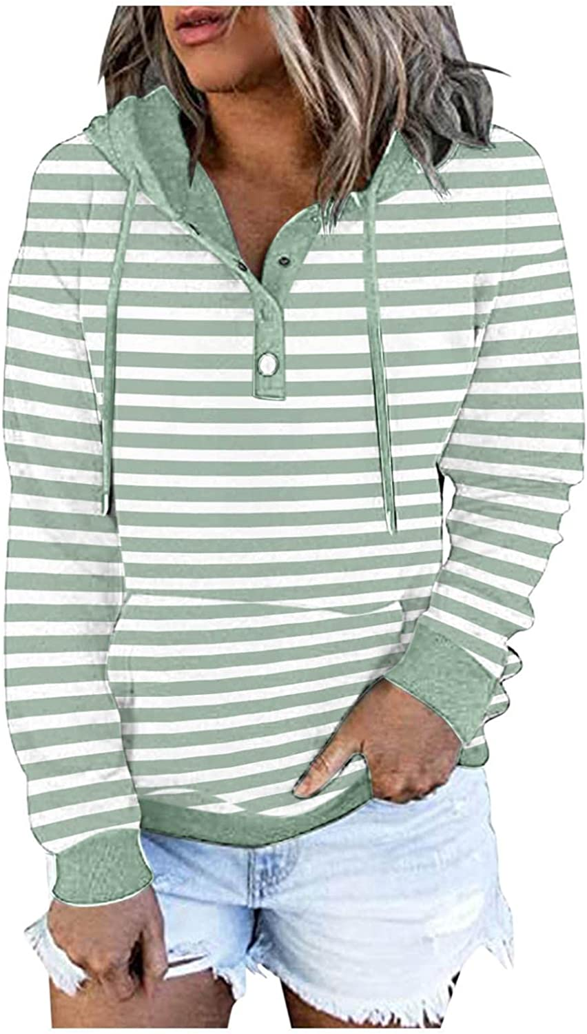 Hoodies for Women,Women's Pullover Hoodies Sweatshirts Tops Casual Button Down Stripe Long Sleeve Tops With Pocket