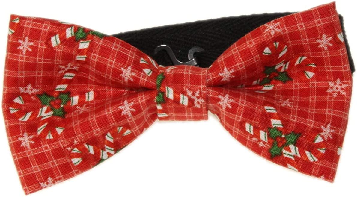 Men's Red Candy Canes Pre-Tied Adjustable Cotton Bow Tie Holiday Bowtie
