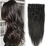 20-60cm Extension Capelli Veri Clip Remy Human Hair Lisci Testa Piena Parrucca Vera Corta (33cm-80g #1B Nero Naturale)