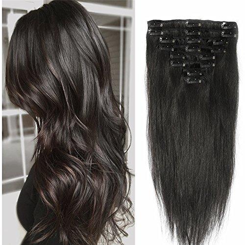 Extension a Clip Cheveux Naturel 8 Pcs - Epaisseur Moyenne - Rajout Vrai Cheveux Humain (#1B Noir naturel, 33 cm (80 g))