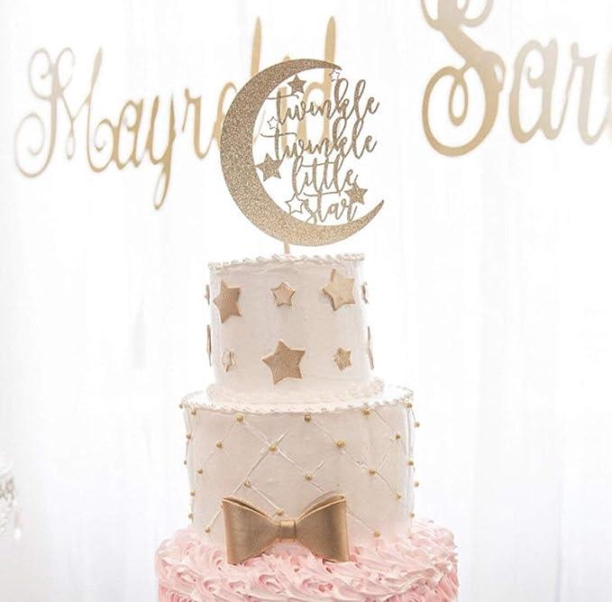 30ps Glitter Paper Moon Star Cake Topper Wedding Baby Shower Cupcake Picks