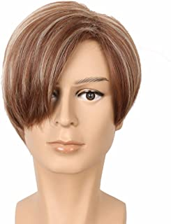 Yuehong Short Straight Brown Hair Wigs Heat Resistant Anime Costume Cosplay Wig