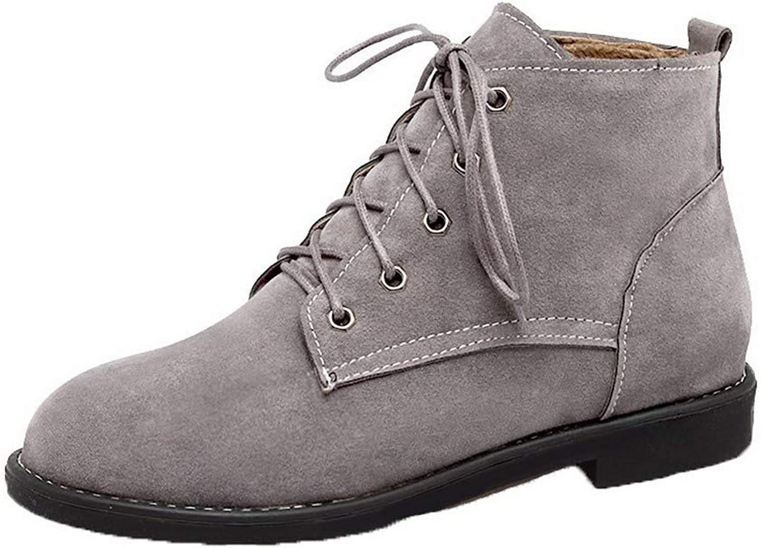 WeiPoot Women's Low-Heels Frosted Ankle-High Solid Lace-Up Boots, EGHXH120427