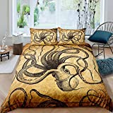 Erosebridal Octopus Duvet Cover,Tentacles Bedding Set Full Size, Nautical Comforter Cover for Kids Teens Young Man Vintage Room Decorative, Underwater World Oasis Sea Animals Bedspread Cover, Brown