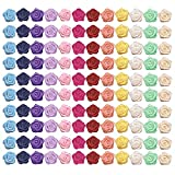 Dreamm 120 Pcs Satin Ribbon Roses Mini Artificial Multicolor Flowers DIY Sewing Crafts Appliques for Wedding Bride Gift Wrapping Decoration