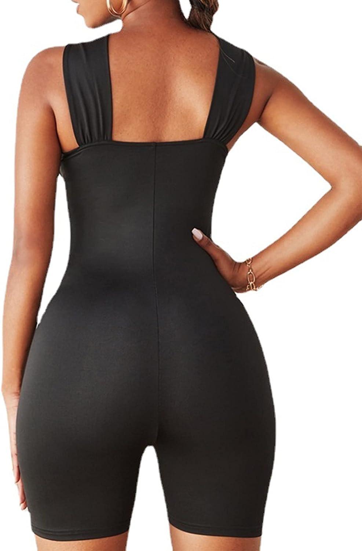 LYANER Women's Cut Out Crisscross Wrap Short Jumpsuit Bodysuit One Piece Catsuit