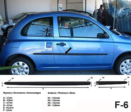 Spangenberg Listones de protección Lateral, Color Negro, para Nissan Micra III K12 Hatchback de